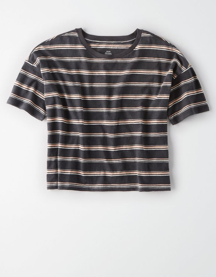 AE Striped Boxy Crop T Shirt, Black | American Eagle