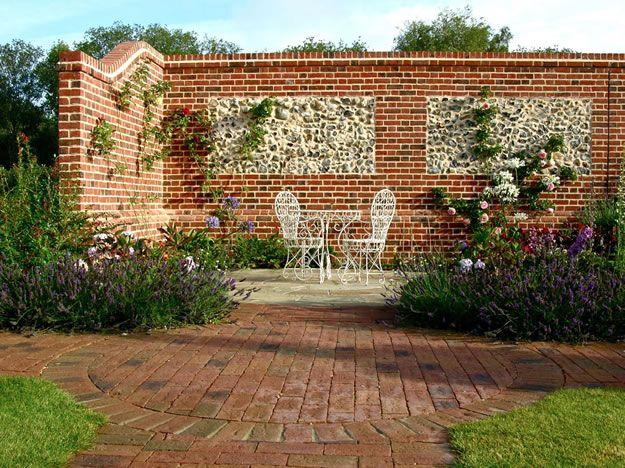 Brickwork and Flint panel | Brick garden, Brick wall ...