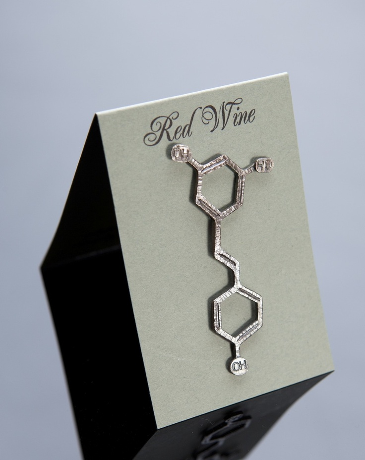 Red Wine Chemical Structure Pin in Sterling Silver.