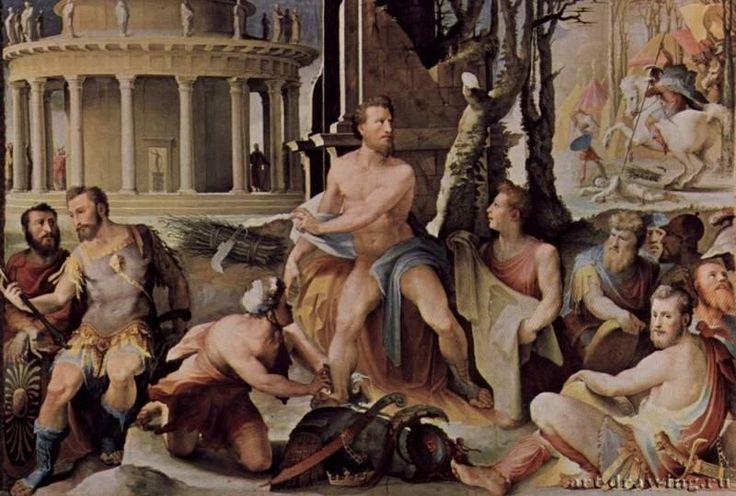 Аллегорический цикл фресок (Политические добродетели) из Палаццо Пубблико в Сиене. Жертва Кодра, царя Афин. 1532-1535. Маньеризм.