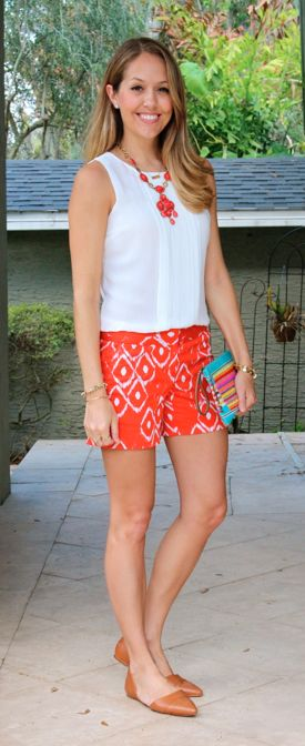 White pleated top, red tribal shorts, rainbow clutch by @jseverydayfash