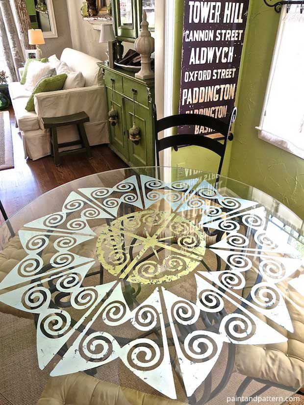 Decorating Dining Room Table With Verre Eglomise And Modello Designs Custom Vinyl Stencils