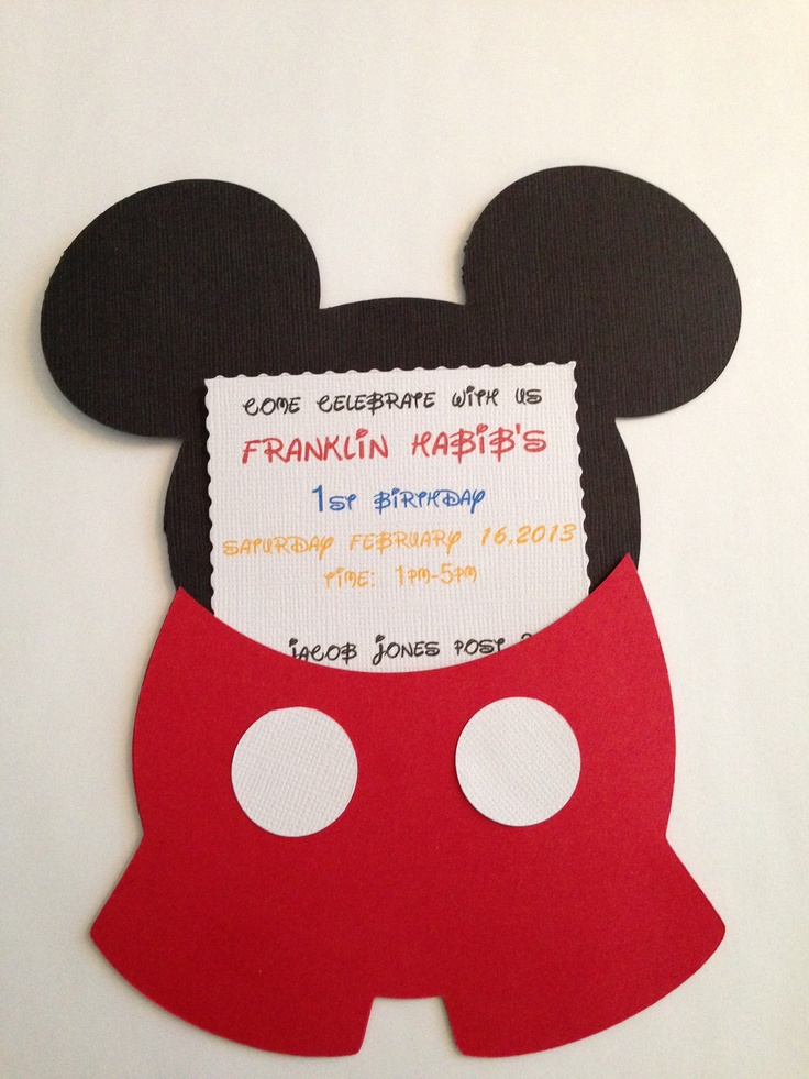 Mickey invitation 1st birthday Cricut disney birthday