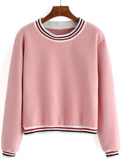 Striped Thicken Pink Sweatshirt Mobile Site