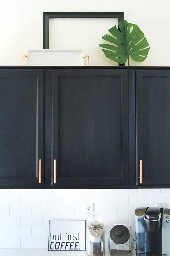 Satin Copper Cabinet Hardware Euro Style Bar Handle Pull Etsy Basement Decor Cabinet New Kitchen Cabinets