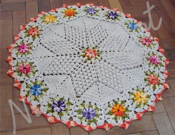 Tapetes tejido a crochet redondos - Imagui
