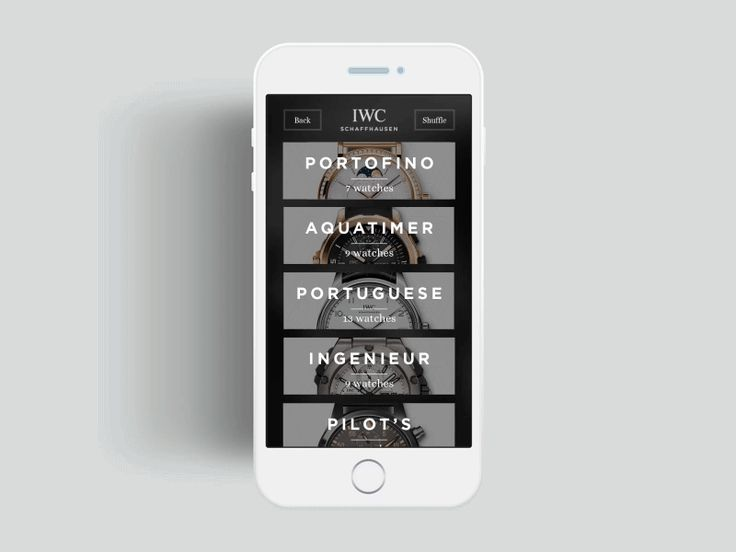 IWC Schaffhausen Mobile App with beautiful animated transitions | Mobile User Interface Design #UI