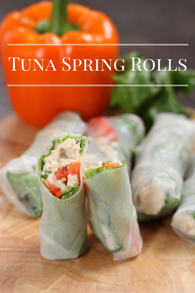 Tuna Spring Rolls ~ A delicious tuna wrap that's a fresh take on your favorite tuna sandwich, without the added calories the bread gives you. These skinny minis are served cold and travel great for on-the-go!