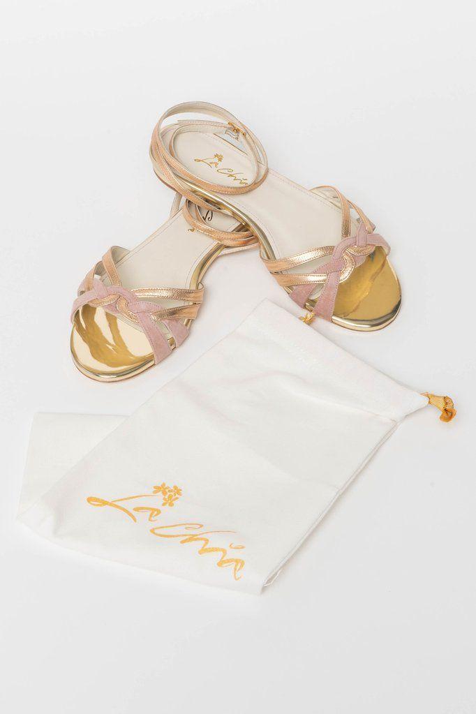 Brautschuh Flache Sandalette In Gold Und Altrosa Zur Hochzeit Athen Brautschuhe Hochzeitsschuhe Und Schuhe Hochzeit
