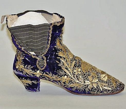Embroideried shoe, for women.  Late-Ottoman, second half of 19th century.   (Metropolitan Museum, N.Y.).
