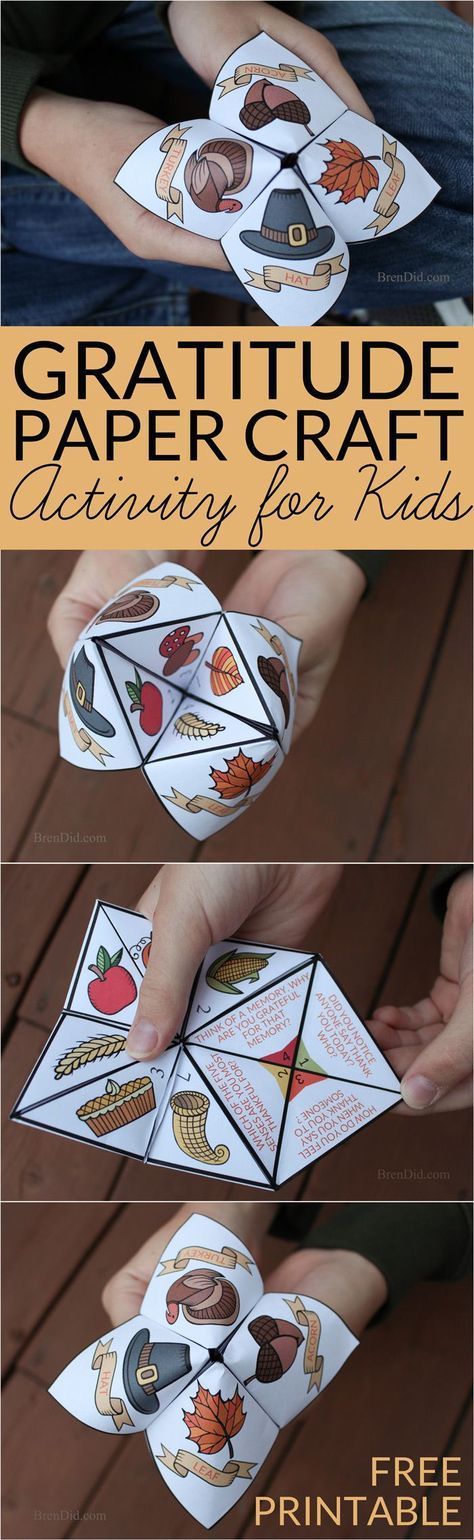 Help children practice thankfulness with this gratitude activity for kids. This easy Thanksgiving craft is a free printable Thanksgiving Cootie Catcher. Learn how to fold a cootie catcher / paper fortune teller on http://BrenDid.com