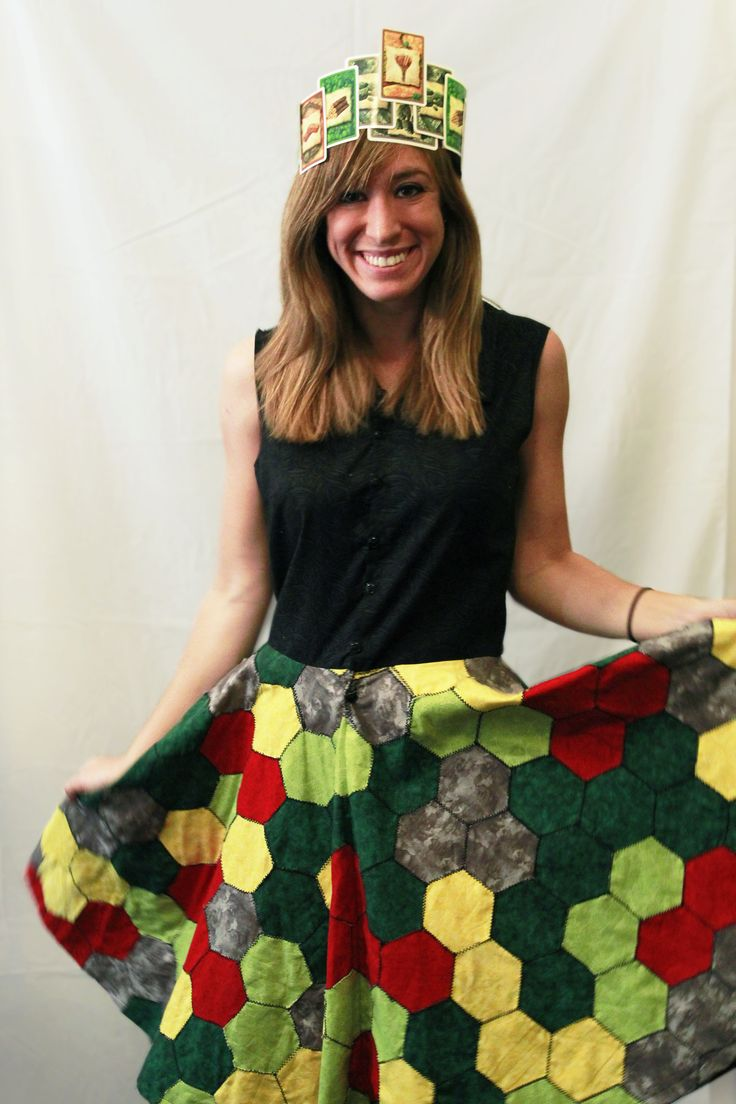 Settlers of Catan dress. 250 hexagons quilted together to mimic the board game.  All hail the Lord of Catan!