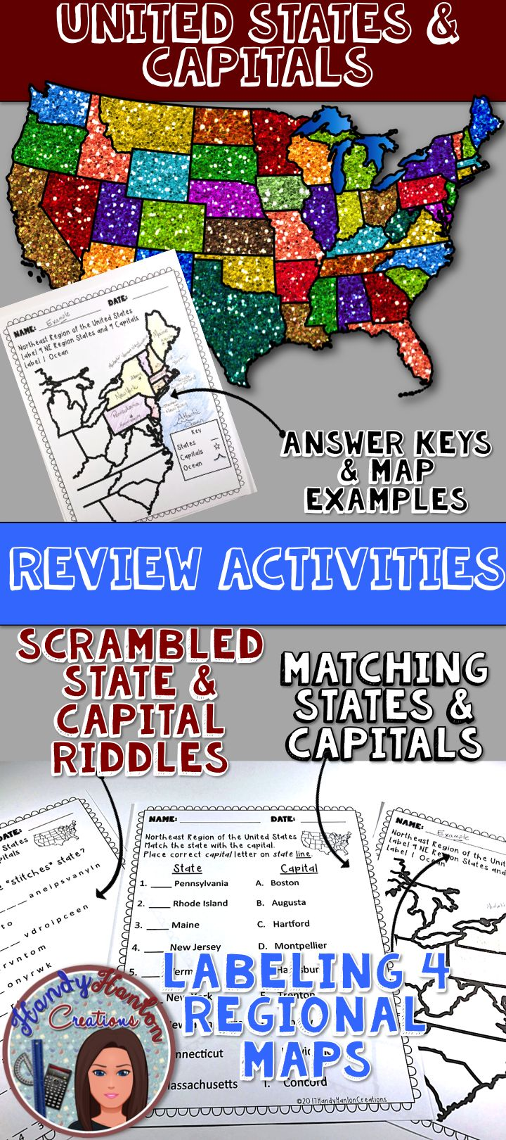 Best Ideas About States And Capitals On Pinterest Capital - Us states and capitals list map