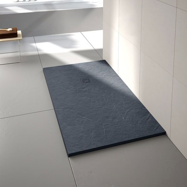 Truestone slate effect rectangular shower tray, handcrafted from quality stone resin and available in various finishes and sizes.