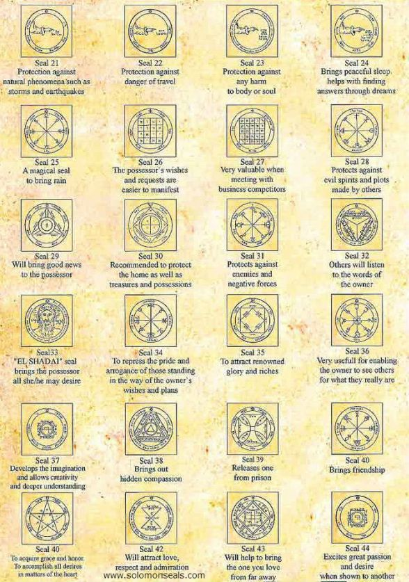 44 King Solomon Seals Pentacle, Alchemy, Witchcraft, Magick, wicca. occult, pagan interest.