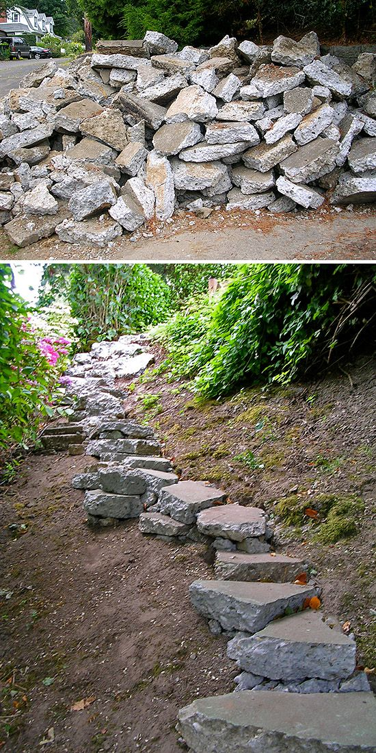 DIY Garden Steps & Stairs • Lots of ideas, tips & tutorials! Including, from 'enviromom', re-using broken concrete to create a garden stairway.