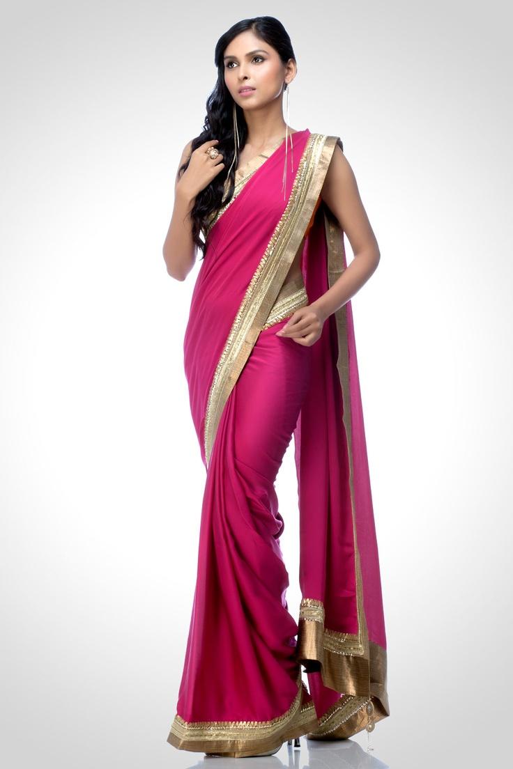 Magenta Gota Tape Saree | Satya Paul