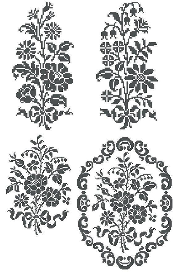 Monochrome flowers- cross stitch or filet crochet pattern