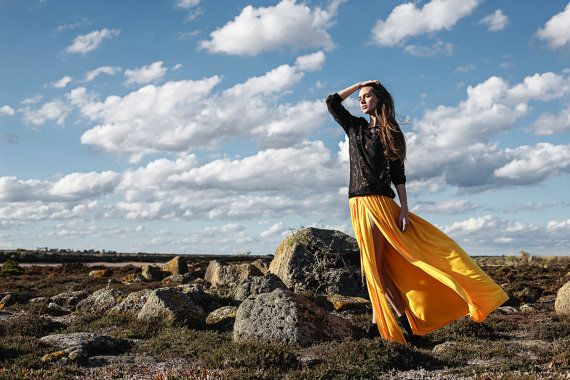 Boho maxi skirt, soft smoothly flowing viscose knit, deep yellow, decorative black tassels, deep slits, perfect for summer, festival style