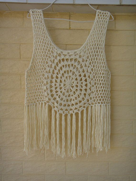 Hippie Fringed Tank Top, Crochet Fringed Vest Summer Lace Beach Cover Up Circle Crochet