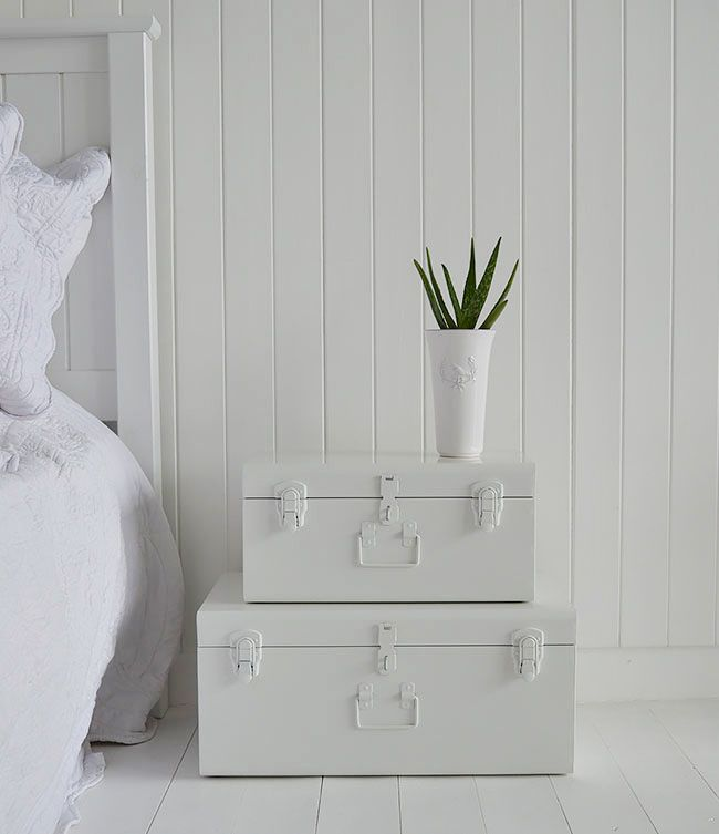 Nantucket white vintage trunk suitcases for bedside table