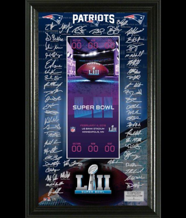 Super Bowl LII 52 AFC Conference Champions New England Patriots Signature Ticket #TheHighlandMint #NewEnglandPatriots