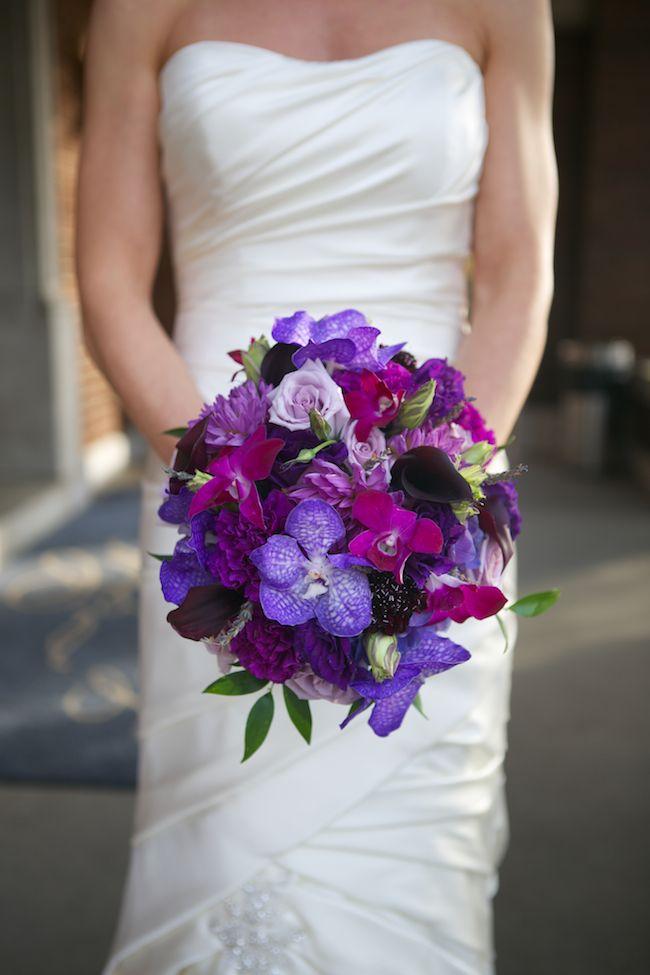 Purple and magenta bouquet. Vanda orchids, dahlias, calla lilies, lavender roses.