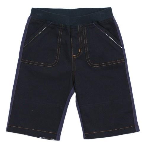 Boy Navy Blue Elastic Waistband Chino Shorts With Rollups