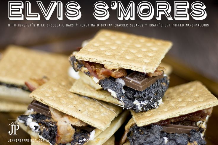 "EASY Elvis Smores Recipe by JPriest  There's a trend to make everything gourmet and why not? We recently went to a waffle restaurant that had an ""Elvis Waffle Sandwich"" on the menu. I thought it was amazingly delicious. So when the kids started asking for us to make s'mores around the firepit in our new patio area, I wanted it to be extra special. During the summer we've started a tradition of gathering in our backyard for after-dinner relaxation. S'mores make a great weeknight dessert and…"