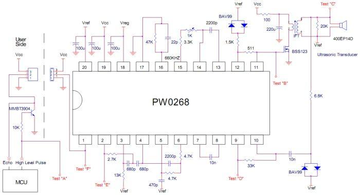 Ultrazvukový sonar s PW0268