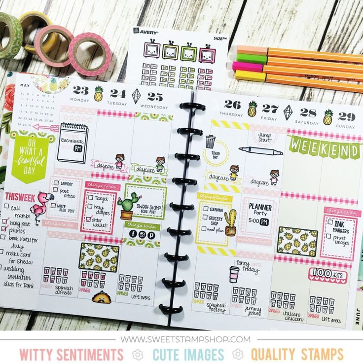 Planner layout by contributor Sparkle Smith using the Sweet Stamp Shop Nod To Mod, Half Box Decor and Plan Television stamp sets