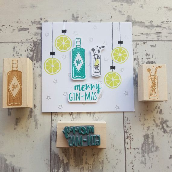 Christmas Gin Rubber Stamp Set by Skull and Cross Buns