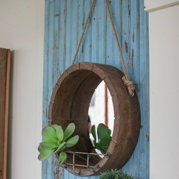 Deep Wooden Mirror with Wall Shelf
