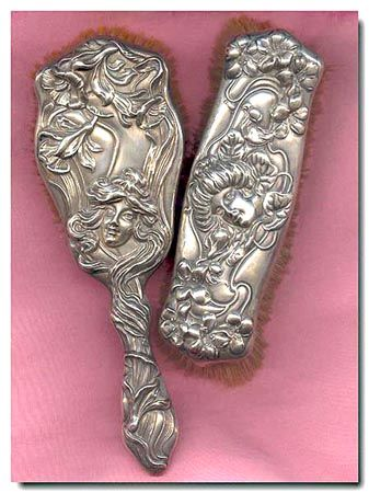 """circa 1901 rare, signed William B. Kerr """"American Beauty"""" series Art Nouveau sterling silver dresser vanity brush set with extraordinary detail and extremely high repoussé design."""