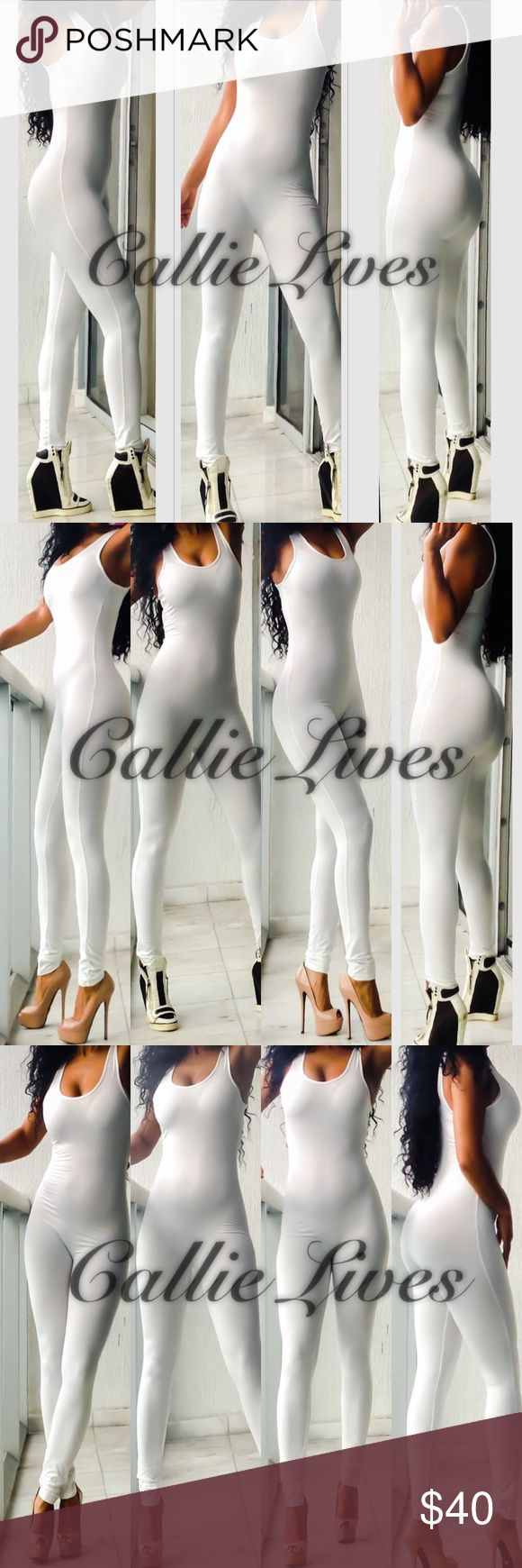 "MAKE OFFER Catsuit Bodysuit Romper Jumpsuit White Small Measurements when laid flat and up stretched: Armpit to armpit 14"" Waist 11.5"" Hips 15.5"" Length 54"" Inseam 30""  Medium Measurements when laid flat and up stretched: Armpit to armpit 15"" Waist 12"" Hips 16"" Length 54"" Inseam 30""  Large Measurements when laid flat and up stretched: Armpit to armpit 16"" Waist 12.5"" Hips 17"" Length 55"" Inseam 28.5"".                                                      I'm 5'6"" weighing 155lbs with…"