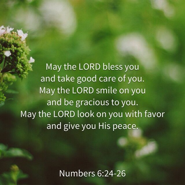 """naturallyjessica: """"Verse of the Day May the LORD bless you and take good care of you. May the LORD smile on you and be gracious to you. May the LORD look on you with favor and give you His peace. — Numbers 6:24-26 """""""
