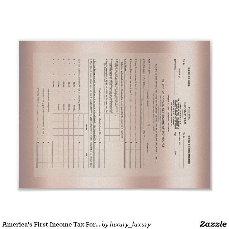 America's First Income Tax Form 1040 Rose Gold Poster