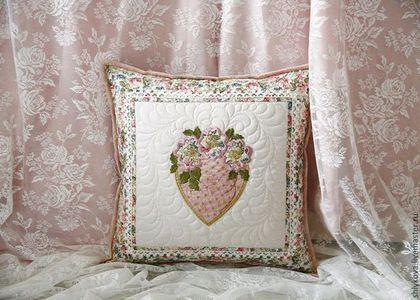 Текстиль, ковры ручной работы. Ярмарка Мастеров - ручная работа. Купить Подушка.. Handmade. Кремовый, подушка с вышивкой, 100% хлопок