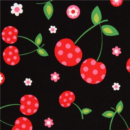 black cherry and flower fabric by Robert Kaufman