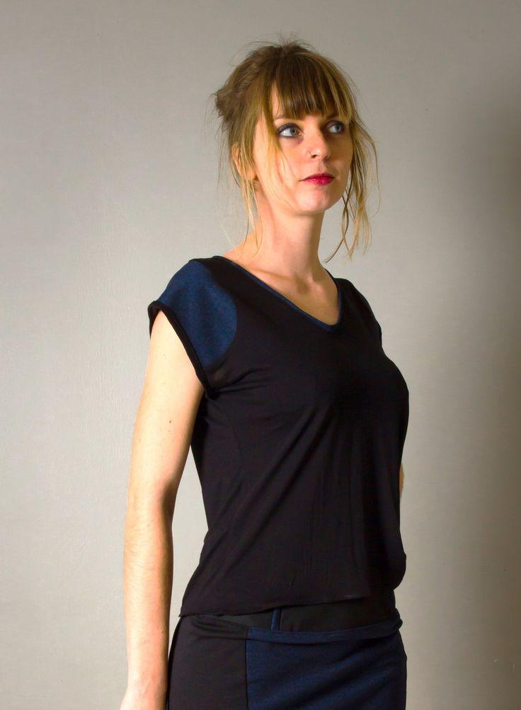 """T-Shirt pour femme """"Louane"""", noir et jean bleu, manches courtes, fluide et doux, encolure V : T-Shirt, debardeurs par all-by-k"""