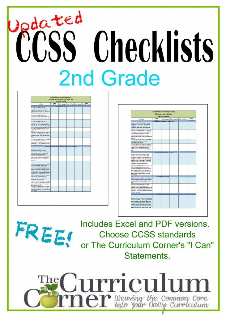 Updated Common Core Checklists | I Can Checklists | CCSS | Free | www.thecurriculumcorner.com