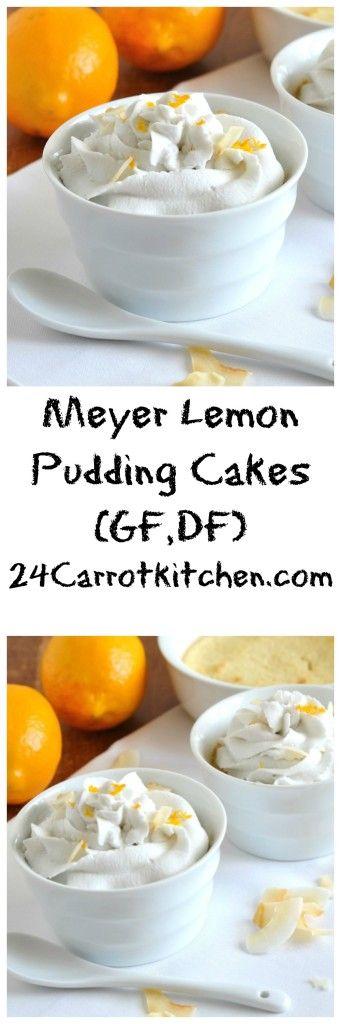 Click for the recipe to these Meyer Lemon Pudding Cakes! |grain free, gluten free, dairy free, paleo, coconut flour, meyer lemon, pudding, dessert|