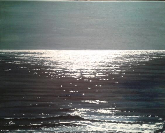 Moon on the water. Acrylic. Photo Julie Bird. See more paintings at The Artmill. www.theartmill.co.uk