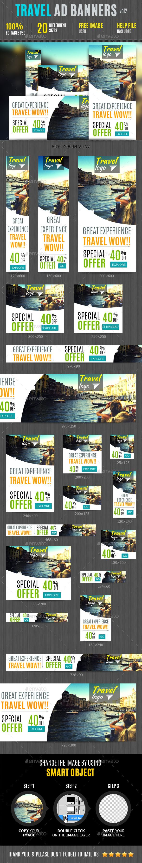Travel Web Ad Marketing Web Banners Template PSD | Buy and Download: http://graphicriver.net/item/travel-web-ad-marketing-vol-2/9008690?WT.ac=category_thumb&WT.z_author=DoodleGraphix&ref=ksioks