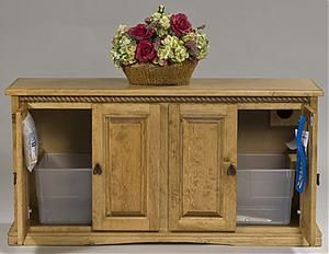 Wonderful Side By Side Custom Litter Box Cabinet Opened