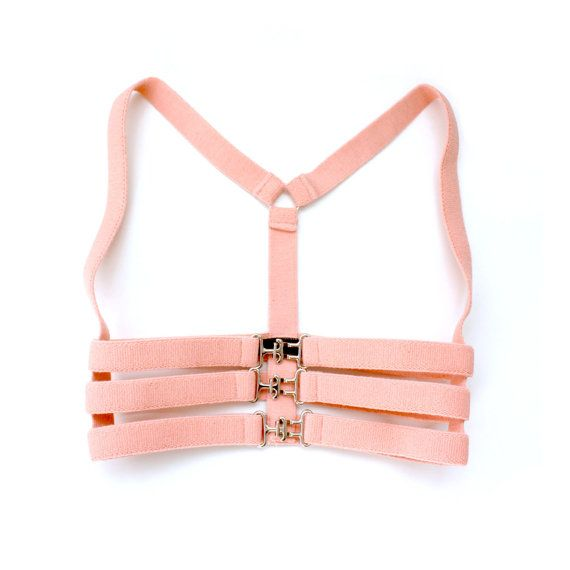 Caged Body Harness Pink Elastic Harness by iheartnorwegianwood
