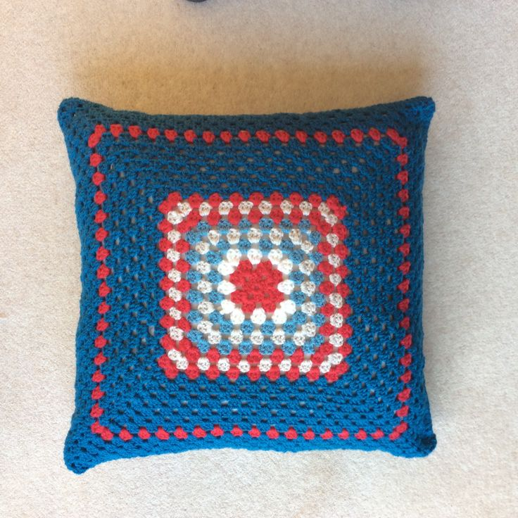 Crochet cushion cover reverse side.