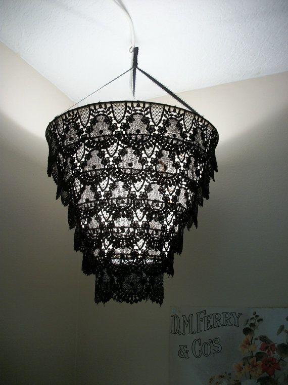 Venise Lace Faux Chandelier Pendant Lamp Shade by cokiethebaby, $30.00
