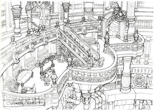 Lindblum Castle Hallway sketch, Final Fantasy IX