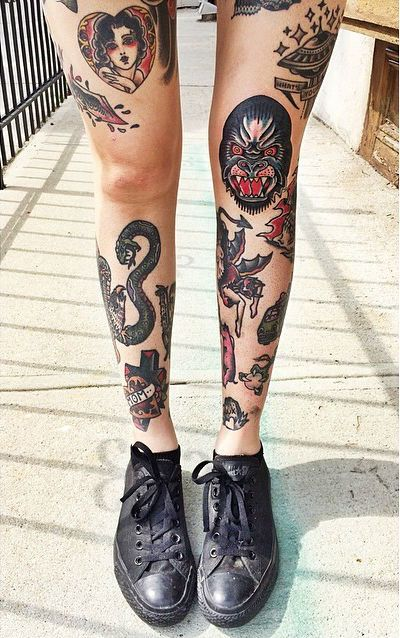 I'd love more on my legs like this. Not really into old school though but love that they're not all joined up